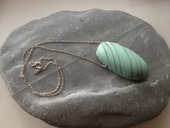turquoise porcelain pendant on silver chain (Joanna McManus) Tags: ceramic necklace jewellery porcelain pendant