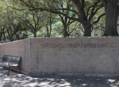 usa_52 (Franz-Rudolph) Tags: park city usa writing for downtown all texas peace houston tranquility blurred we innen stadt came unscharf mankind metropole inschrift