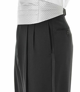 Black Pleated Front Tuxedo Trousers Regal Fit