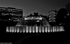Grand Park fountain (Lenny Lloyd da Silva) Tags: california nightphotography blackandwhite black water architecture losangeles nikon downtown cityscape citylights nightscene cityofangels cityscene lightplay lastreet losangelesstreet blackblackandwhite nikond3100 urbandowntownd3100