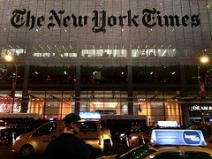 All the News Thats Fit to Print (-jamesstave-) Tags: newyork nyc newyorktimes nyt newspaper periodical headquarters building renzopiano logo sign typeface font traffic night manhattan midtown timessquare city urban street iphone5s