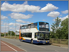 12.5% (Jason 87030) Tags: 17695 stagecoach midlands northampton northants northamptonshire cobblers town ntfs dennis trident plaxton president doubledecker swanvalley pineham x705jvv clouds sky 50