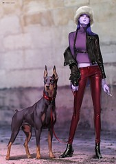 Overwatch, Widowmaker & dog (JamesGoblin) Tags: esport online walk street glasses wallpapers wallpaper art conceptart concept posters poster fashion shoes shoe jackets jacket sweet sexy multiplayer gaming game shooter blizzard overwatch young girls girl couples couple woman women feminine dog dogs cigar cigarette smoke smoking leather necklace leash pretty beauty beautiful female females