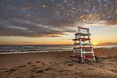 Stanhope Beach Sunrise (Alex Bruce Photo) Tags: pei princeedwardisland beach sand ocean lifeguardchair clouds sunrise