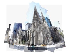 St Patrick's Cathedral Panorama (UlisesBedia) Tags: panographic ulisesbedia new york st patricks cathedral panorama panografie panoram catedral day composition graphic taxi church 2016 photoshop building sunday morning street panograph city landmark christianism catholic mass art multipicture weekend canon experimental tall perspective perspectiva multiple religious