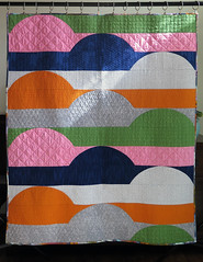 Office Day Dream Quilt (Quiltachusetts - Heather Black) Tags: modern contemporary quilt hoffman me you pink blue navy green grey white fibs fables anna marie horner walking foot curve quilting piecing original deisgn file folders semi circle batik