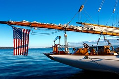 America (AnnWeisPhotography) Tags: ship learningship america flag water woodboat porttownsend washington gorgeousview view stunning beautiful bluewater clear fogcomingin