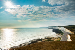 Seven Sisters! (dazzbo1) Tags: seascape landscape view sun sky cloud formation cliffs beach sea sand coast walk hike waves birling seven sisters chalk scary uk england beautiful serene magnificent seaside