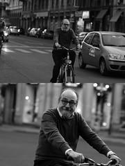 [La Mia Citt][Pedala] sorridendo (Urca) Tags: milano italia 2016 bicicletta pedalare ciclista ritrattostradale portrait dittico bike bicycle nikondigitale mir biancoenero blackandwhite bn bw 88997