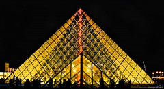 Louvre At Night (Dominique.B88) Tags: louvre paris france travel dark night yellow gold landmark photography nikon dslr d5300 1855 black sky