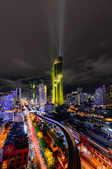 Mahanakhon a building that has the highest in Bangkok,Thailand.The building was opened spotlights. On the opening day of the tallest building in Thailand on August 29, 2016.Bangkok view Mahanakhon. (Aor Chantip) Tags: millionaire modern money new mall mahanakhon highest highrise luxurious luxury office prospective tallest tower urban view tall street residential rich shape skyscraper high financial center city cityscape commercial business building architecture area background bangkok company complex district economics exterior finance design corporate condo condominium construction apartment