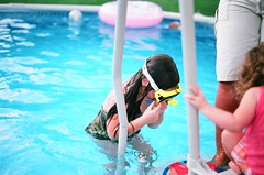 (alyssa_joy) Tags: portrait color pool swansea analog swimming children minolta candid massachusetts mother fujifilm expired x700