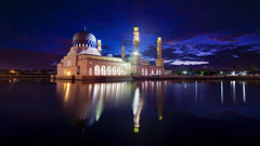 Likas Mosque in Blue Hour (nelza jamal) Tags: blue lake reflection landscape dawn exposure muslim islam pray mosque hour kotakinabalu outing islamic jamal subuh likasmosque nelza nelzajamal kinabalusingle