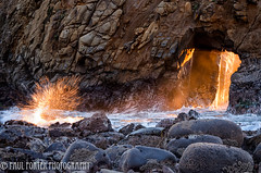 Furnace (Paul Porter Photography) Tags: ocean california winter light sunset orange beach yellow gold pacific bigsur pacificocean solstice beaches lowtide splash westcoast pfeiffer californiacoast sycamorecreek californiastateparks pfeifferstatebeach