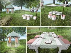 Garden Party & Gazebo (Trinetty Skytower) Tags: flowers party sunshine digital garden photography spring avatar meadow sl secondlife virtual alouette thegarden rageworks