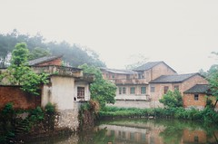 Jiangtouzhou (Choollus) Tags: china old travel travelling verde green primavera film analog river countryside spring village kodak guilin fiume chinese typical yashica viaggio viajar guanxi viajo viaggiare fx30 kodake100 jiangtouzhou