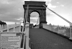 Wilford Suspension Bridge (Lady Wulfrun) Tags: nottingham bridge monochrome footbridge trent nottinghamshire rivercrossing rivertrent notts spanning wilfordsuspensionbridge