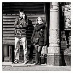 waiting ... (Gerard Koopen) Tags: bw netherlands amsterdam waiting nederland streetphotography calling noordholland straatfotografie 2013
