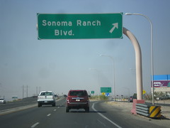 US-70 West - Sonoma Ranch IC (sagebrushgis) Tags: newmexico sign intersection overhead lascruces biggreensign us70 freewayjunction bataanmemorialhighway