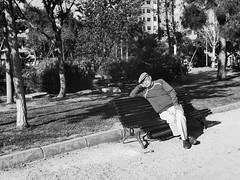 Spring dreams (unoforever) Tags: street sleeping people man primavera monochrome bench photography calle spring gente streetphotography banco sueos dreams streetphoto fotografa castelln durmiendo spmonochrome unoforever