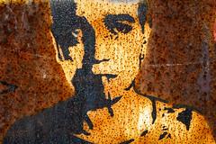 Berlin street art on rust (Lens Daemmi) Tags: street urban man berlin art germany graffiti rust fuji cigarette kunst finepix fujifilm mann rost zigarette x10
