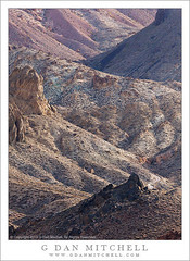 High Country Desert Canyon (G Dan Mitchell) Tags: california road park travel red usa mountain black nature rock america print landscape death back high colorful desert country north stock scenic twist canyon upper national valley license range gravel titus outcropping reaches titanothere amargosa