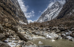Upper Modi River (pbr42) Tags: nepal panorama mountain nature river landscape valley annapurna hdr luminance modi