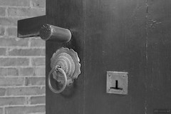 Traditional Chinese Door Lock and Knob (Canadian Pacific) Tags: bw building architecture hongkong photo estate shot chinese historic mansion  newterritories  yuenlong   santin taifutai   aimg9464 wingpingtsuen wingpingvillage taifudai
