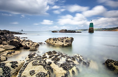 flickr1 (guix29) Tags: longexposure blue sea sky cloud seascape france green beach water rock landscape sand sable wave bretagne bleu boulders ciel shore nuage vague plage rochers verte finistre balise dourven