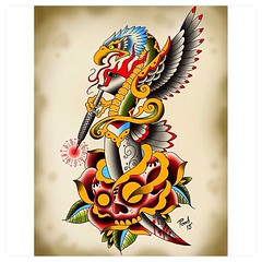 I want to tattoo this, any takers? Only $200, around 12 inches high or a bit bigger to fit upper arm, forearm or calf. No ribs for that price...#traditionaltattoo #eagledagger #eagledaggerrosetattoo #oldschool #dagger