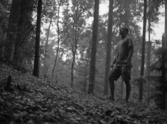 *FILM* the power of forest (Philip Schulze) Tags: couple woman man beautiful forest trees blackwhite schwarzweis analog film 645 mediumformat 120film mamiya645 sekor80 ilford fp4plus 125asa rodinal 150 strong