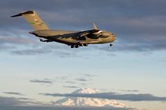RAINIER REACH (Kaiserjp) Tags: 021108 c17a mcchord reach142 usaf airforce military transport jet mtrainier mountrainier mountain sunset evening