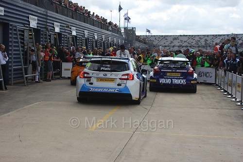 Gordon Shedden takes the win with Mat Jackson second and Jason Plato third at Rockingham, August 2016