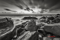 Stormy Rocky Coast ( SUNRISE@DAWN photography) Tags: sea seascape landscape black white monochromatic monochrome rocky rock rocks cloud clouds cloudy water ocean wave storm overcast gray