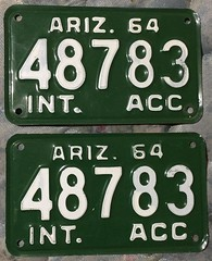 ARIZONA 1964 ---INTERSTATE TRUCK PLATE PAIR (woody1778a) Tags: arizona 1964 accessory numberplate licenseplate registrationplate supplemental mycollection myhobby