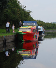 Colour reflected .... (Halliwell_Michael ## More off than on this week #) Tags: rileygreenmarina lancashire nikond40x 2016 leedsliverpoolcanal trees barge barges towpath boat boats boattrip perspective reflection reflections water landscapes