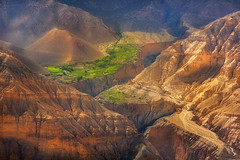 On the way to the kingdom of Mustang (Maxim Slastnikov) Tags: nepal mountains travel trekking explore sand way valley oasis trees view village people tibet nature nationalpark national sunset sun sunlight altitude