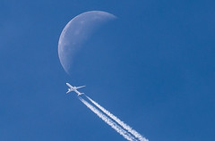 Moon and Boeing 777 (deltic17) Tags: 37000ft moon lunar boeing boeing777 tcljc turkishairlines jet plane sky zoom telephoto crop canon canon5dmk3 handheld