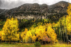 Crystal Fall Mountain (Serithian) Tags: hdr high dynamic range sony alpha a6000 photomatix fall colors aspens marble crystal colorado rocky mountains mill river town clouds snow leaves autumn