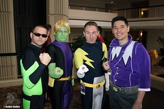 Legion of Superheroes (Adam Antium) Tags: legion superheroes photo shoot dragon con 2016 brainiac 5 costume cosplay adam antium spandex lycra five coluan green make up makeup tight tights black purple yellow wig flight ring lightning lad matter mater eater polar boy 31st century future 31 time travel