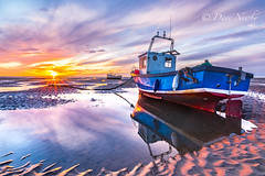 Meols shore, Wirral (davenewby123) Tags: boat seascape seaside wirral merseyside sunset unitedkingdom england meols shore outdoor primo beach irishsea longexposure movement clouds dusk canon heliopan canon6d sigma24105 vehicle water sea waterfront serene landscape sky fishingboats