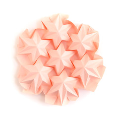 The variation of the previous one #origami #tessellation (_Ekaterina) Tags: origami paper paperfolding tessellation corrugation star pink rose hexagon