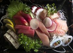 2013-04-03-0010 (Xfour00) Tags: fish macro vegetables fruit sushi nokia leaf lemon sashimi clam veggies 808 pureview shinobisushi nokia808pureview