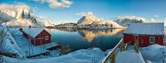 The Rorbuer of Reine (Kristin Repsher) Tags: norway reflections nikon europe fjord lofoten reine cabins lofotenislands rorbuer autopano reinefjord northernnorway d700 autopanogiga