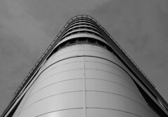 Looking Up (PeteZab) Tags: nottingham uk england blackandwhite bw building monochrome architecture modern mono design apartments perspective modernism line flats highrise curve accomodation 2013 canoneos50d petezab peterzabulis sigma1770f284dcmacroos