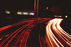 'On the Road' - Photography exam (juliacait) Tags: road longexposure bridge car night dark lights driving motorway headlights ontheroad m4 taillights lightdrawing