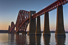 Forth Bridge and the belt of venus (Grant_R) Tags: sunset reflections scotland edinburgh beltofvenus firthofforth forthbridge southqueensferry forthbridges forthrailbridge hawespier grantr