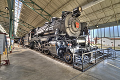 Iron Beast (trainmann1) Tags: railroad museum photoshop nikon iron track pennsylvania steel tripod wheels tracks engine rail steam pa rails strasburg photomerge locomotive preserved tamron pistons amateur rods stitched hdr highdynamicrange 460 d90 photomatix 5741 cs5 1116mm engine5741