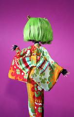 Clawdeen's new kimono rear-view (RequiemArt.com) Tags: orange green fashion monster werewolf high doll ooak kimono mh repaint clawdeen monsterhigh