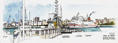 Mlaga, harbour (Luis_Ruiz) Tags: port puerto harbor boat sketch spain barco ship cityscape harbour drawing vessel andalusia dibujo mlaga urbansketchers